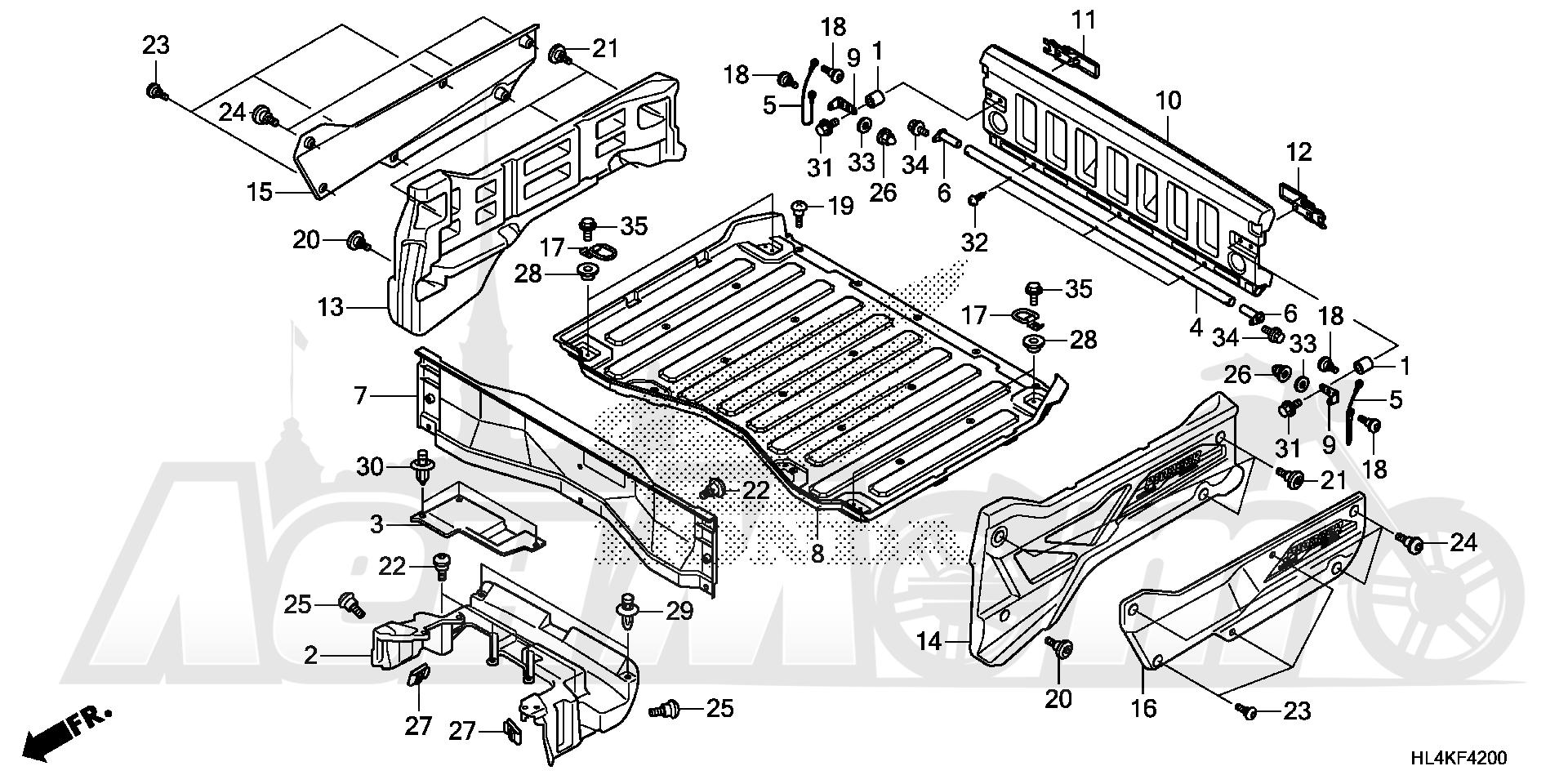 Запчасти для Квадроцикла Honda 2019 SXS1000M5L Раздел: BED PLATE AND REAR GATE (1) | BED пластина и зад GATE (1)