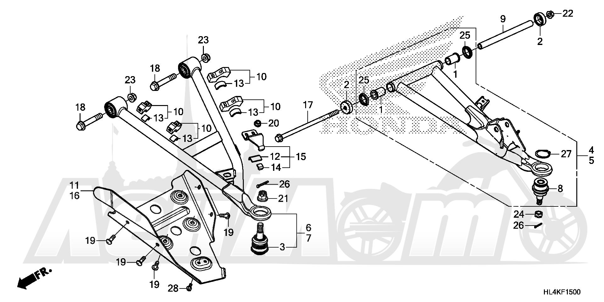 Запчасти для Квадроцикла Honda 2019 SXS1000M5L Раздел: FRONT ARM | передний рычаг