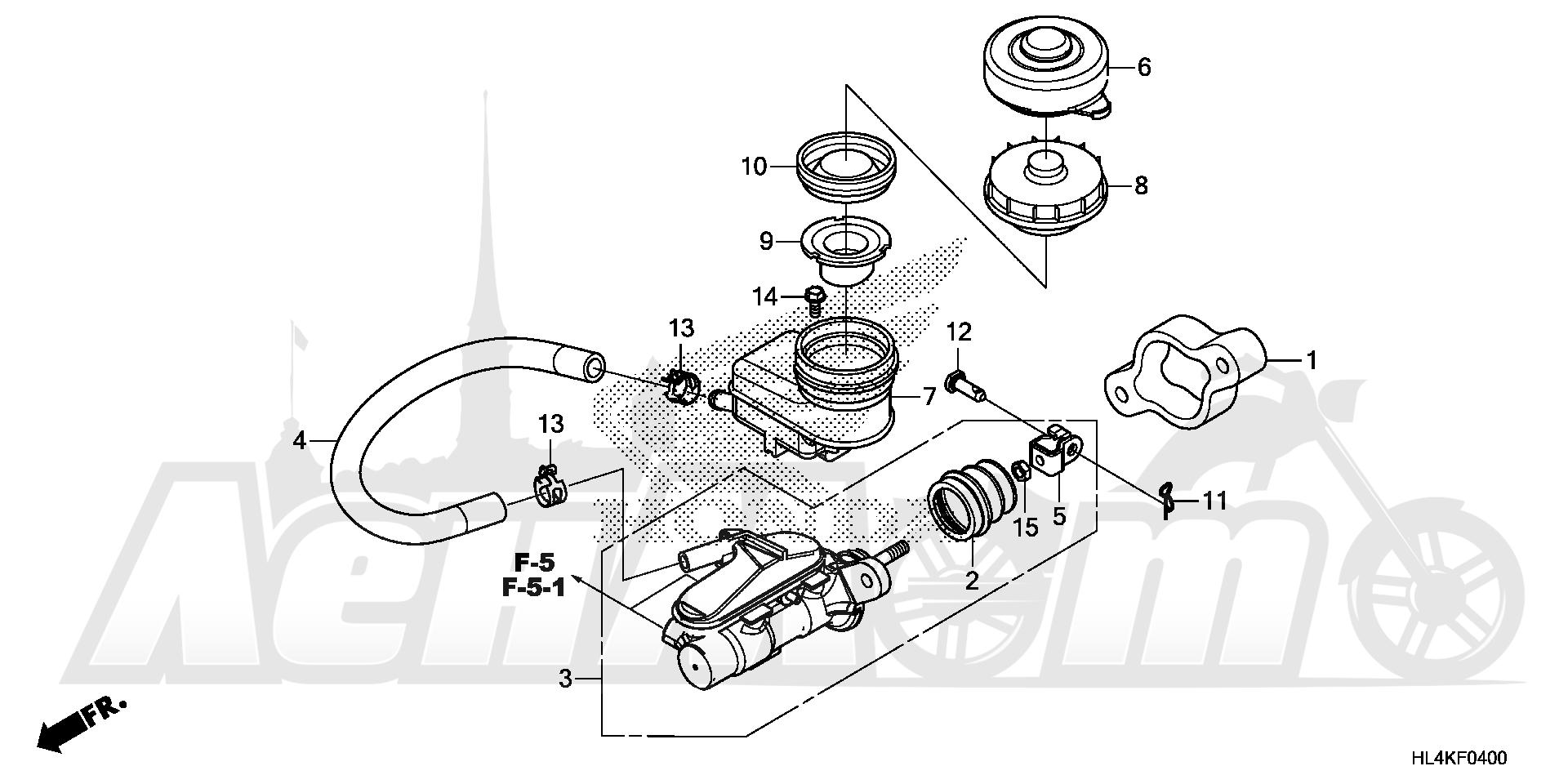 Запчасти для Квадроцикла Honda 2019 SXS1000M5L Раздел: FRONT BRAKE MASTER | передний тормоз MASTER
