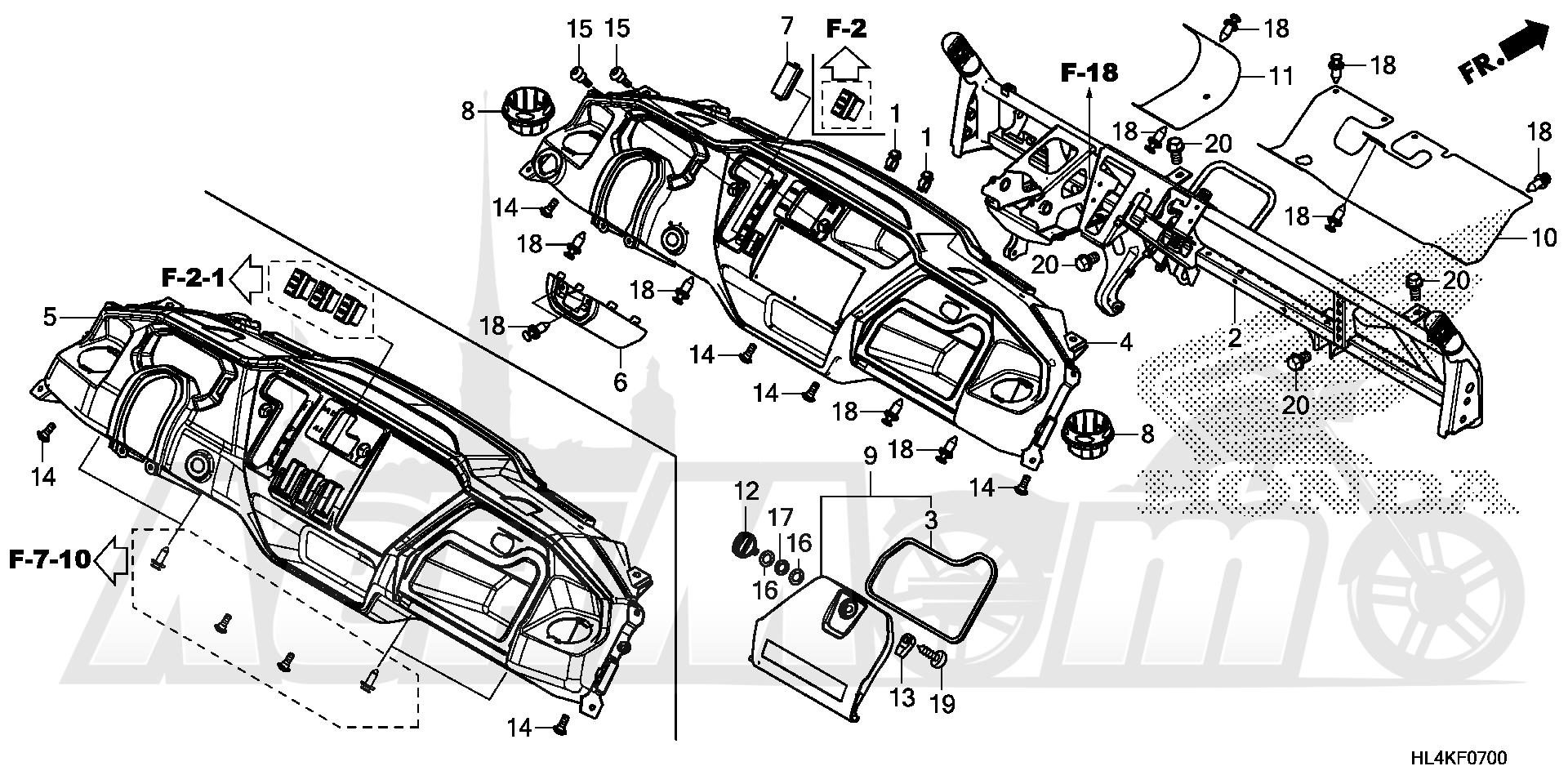 Запчасти для Квадроцикла Honda 2019 SXS1000M5L Раздел: INSTRUMENT PANEL | приборная панель
