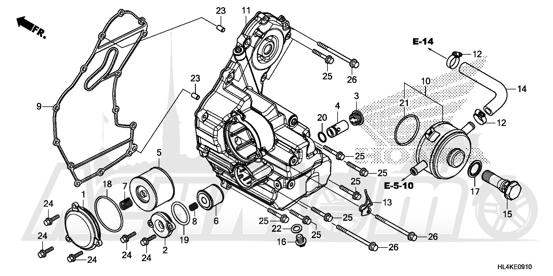Запчасти для Квадроцикла Honda 2019 SXS1000M5L Раздел: OIL COOLER | маслянный радиатор