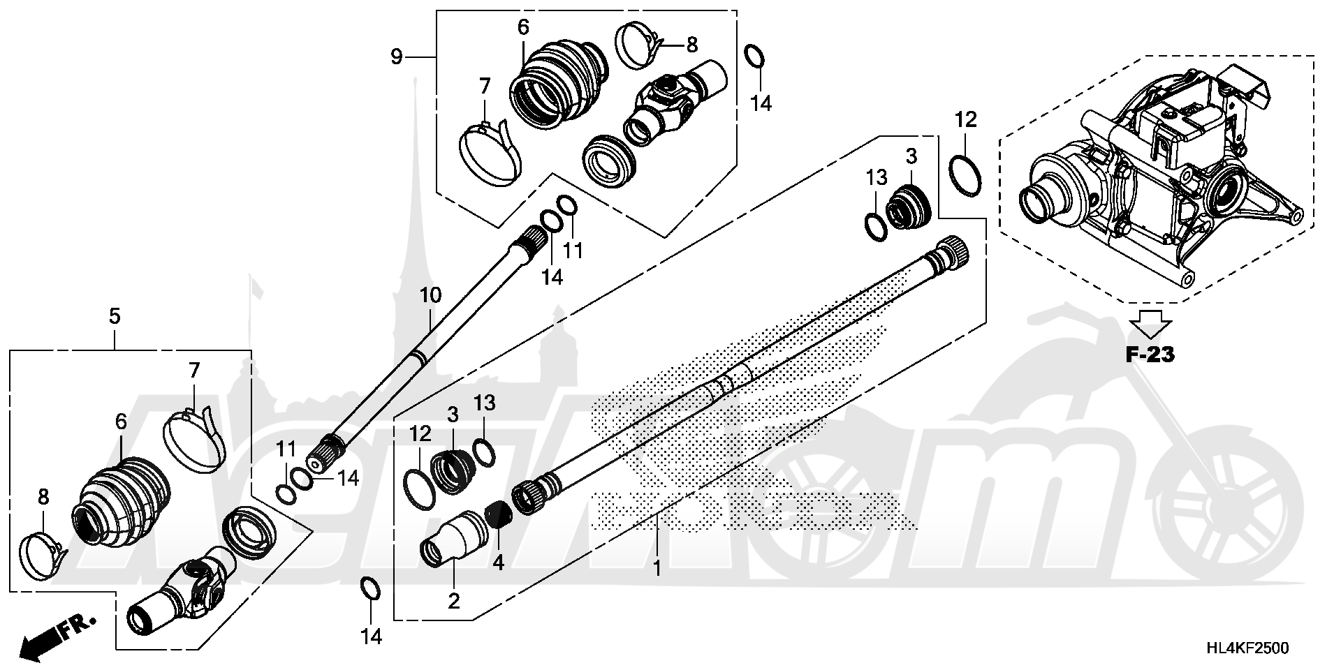 Запчасти для Квадроцикла Honda 2019 SXS1000M5L Раздел: PROPELLER SHAFT | карданный вал
