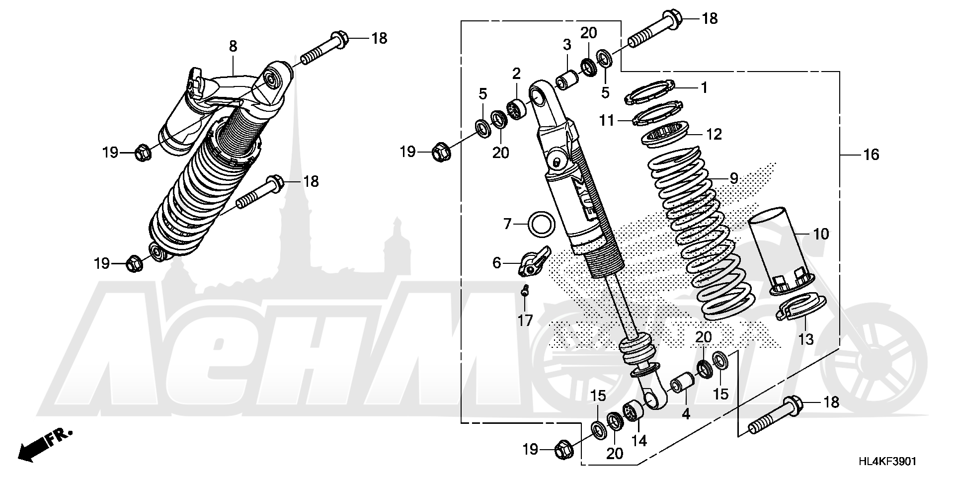 Запчасти для Квадроцикла Honda 2019 SXS1000M5L Раздел: REAR SHOCK ABSORBER (2) | зад амортизатор (2)