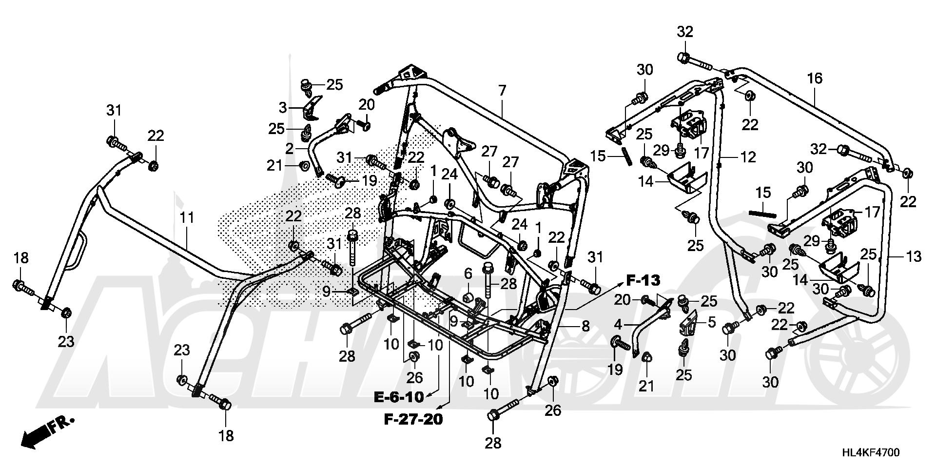 Запчасти для Квадроцикла Honda 2019 SXS1000M5L Раздел: ROLL BAR | рулон планка