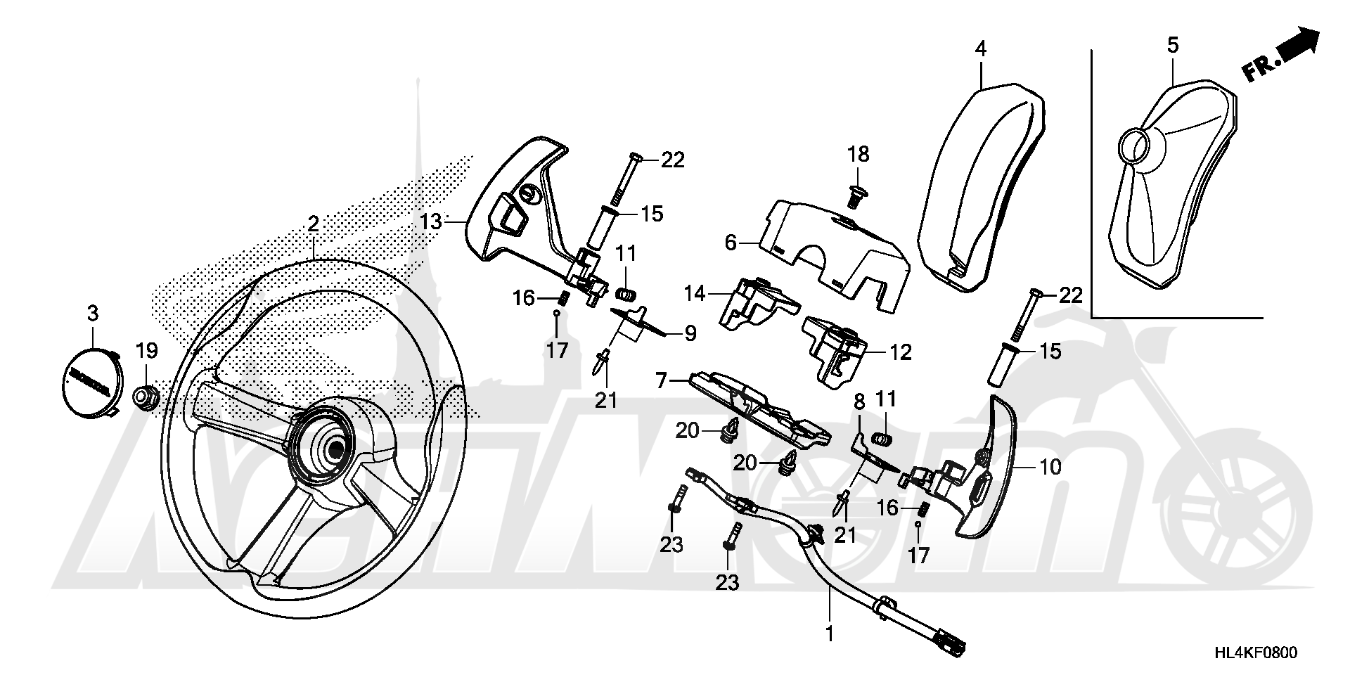 Запчасти для Квадроцикла Honda 2019 SXS1000M5L Раздел: STEERING WHEEL | рулевое колесо (руль)