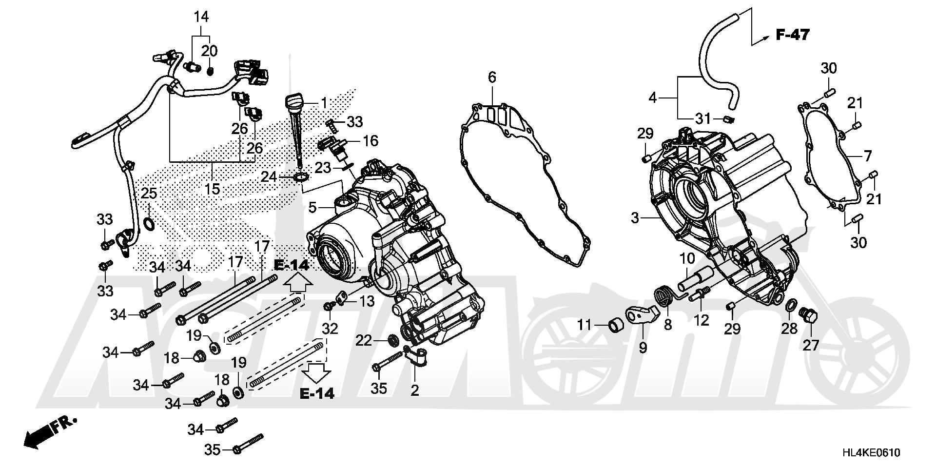 Запчасти для Квадроцикла Honda 2019 SXS1000M5L Раздел: SUB-TRANSMISSION CASE | SUB трансмиссия корпус