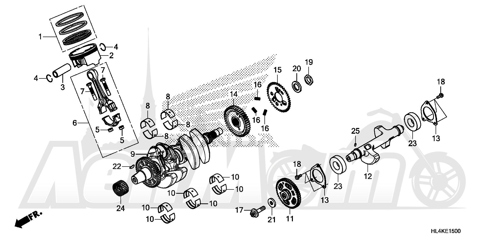 Запчасти для Квадроцикла Honda 2019 SXS1000M5P Раздел: CRANKSHAFT AND PISTON   коленвал и поршень
