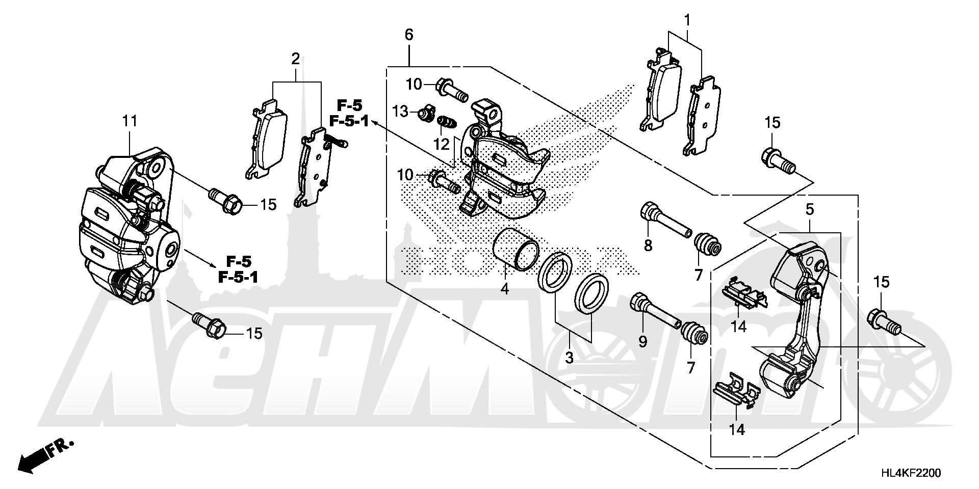 Запчасти для Квадроцикла Honda 2019 SXS1000M5P Раздел: REAR BRAKE CALIPER | задний тормоз суппорт
