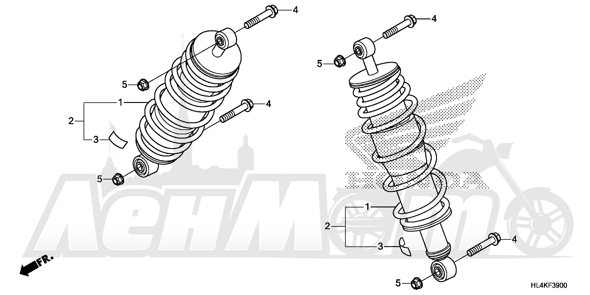 Запчасти для Квадроцикла Honda 2019 SXS1000M5P Раздел: REAR SHOCK ABSORBER (1) | зад амортизатор (1)