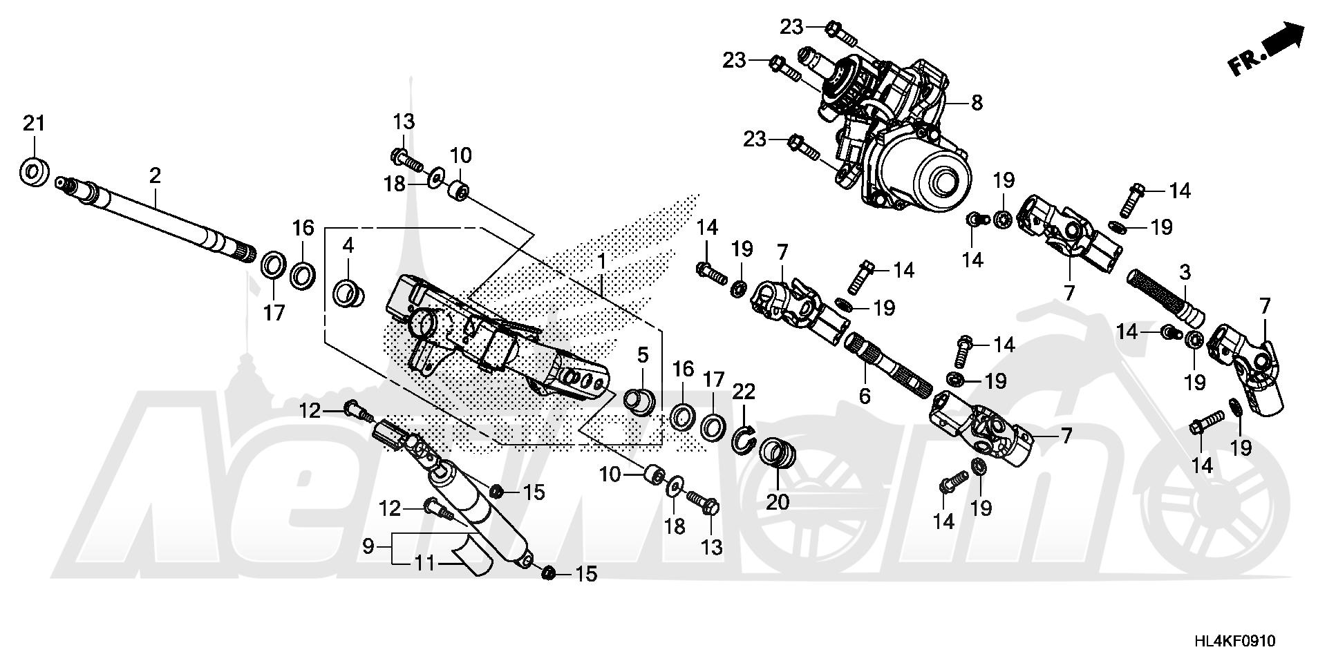 Запчасти для Квадроцикла Honda 2019 SXS1000M5P Раздел: STEERING SHAFT (EPS) | рулевой вал (EPS)