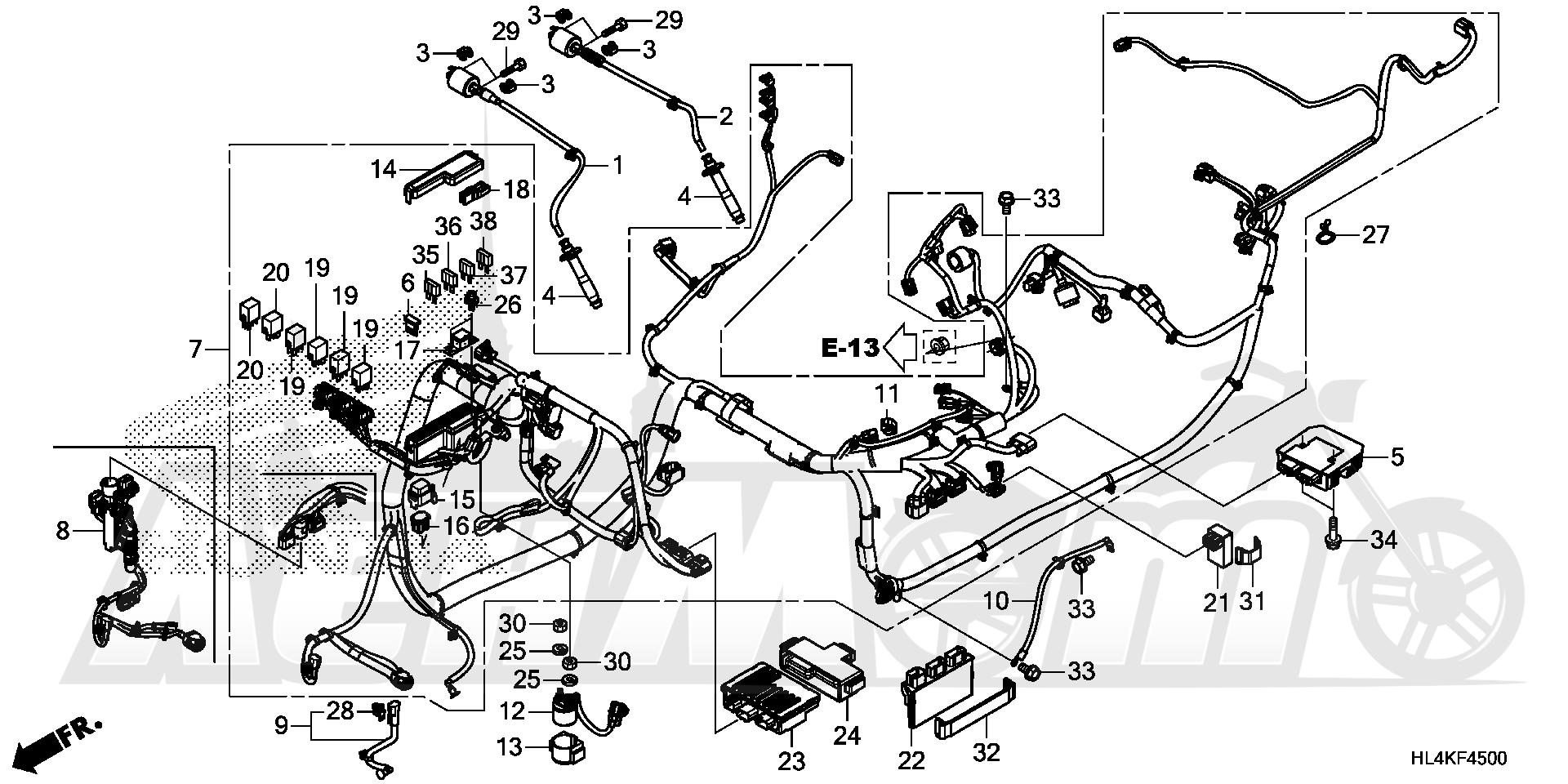 Запчасти для Квадроцикла Honda 2019 SXS1000M5P Раздел: WIRE HARNESS | жгут проводов