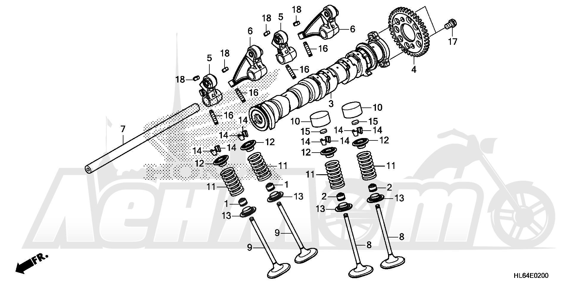 Запчасти для Квадроцикла Honda 2019 SXS1000S2R Раздел: CAMSHAFT AND VALVE | распредвал и клапан