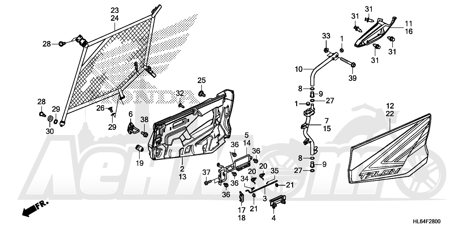 Запчасти для Квадроцикла Honda 2019 SXS1000S2R Раздел: DOOR   дверь