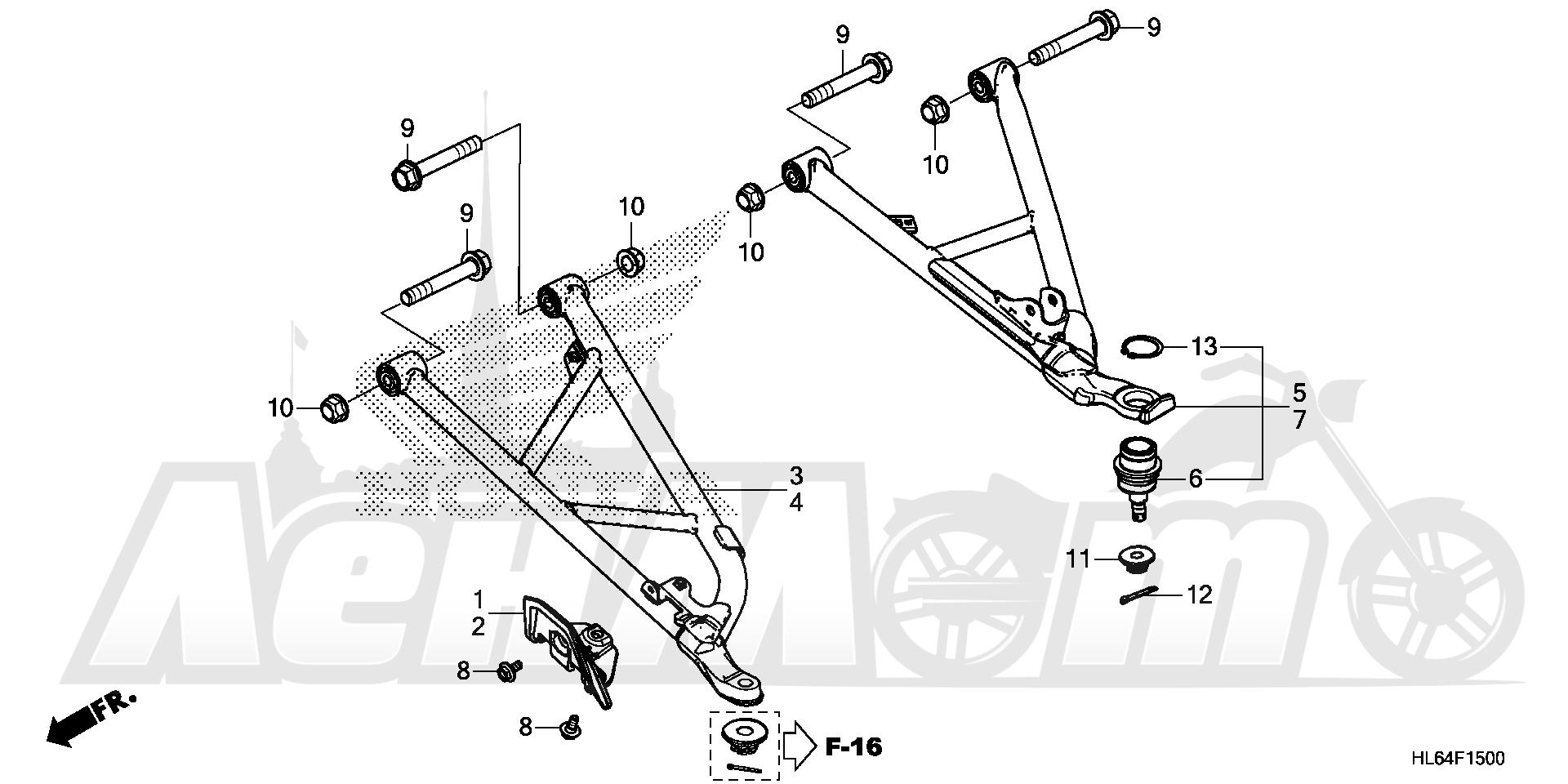 Запчасти для Квадроцикла Honda 2019 SXS1000S2R Раздел: FRONT ARM   передний рычаг