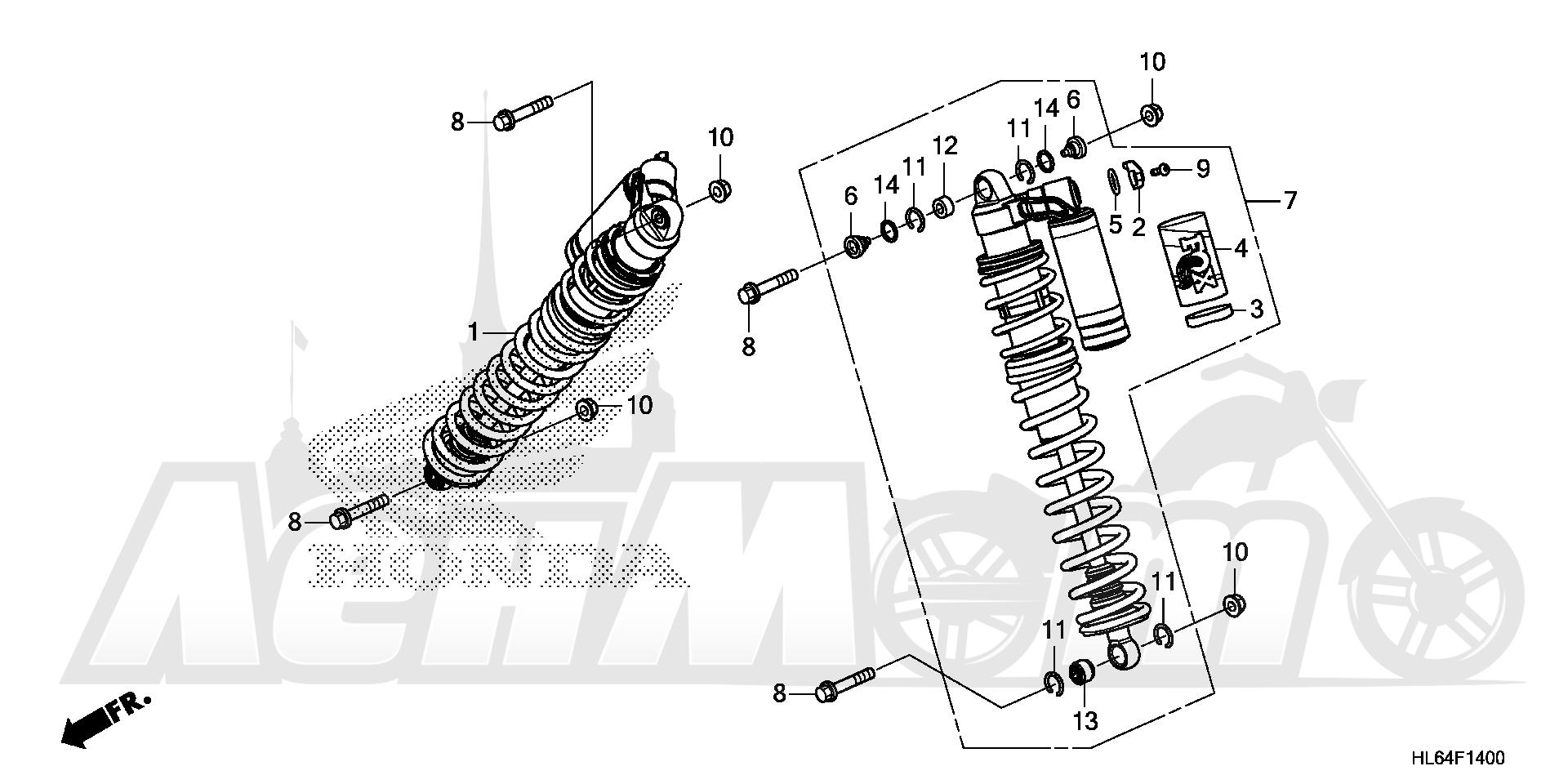 Запчасти для Квадроцикла Honda 2019 SXS1000S2R Раздел: FRONT CUSHION (1) | перед подкладка (1)