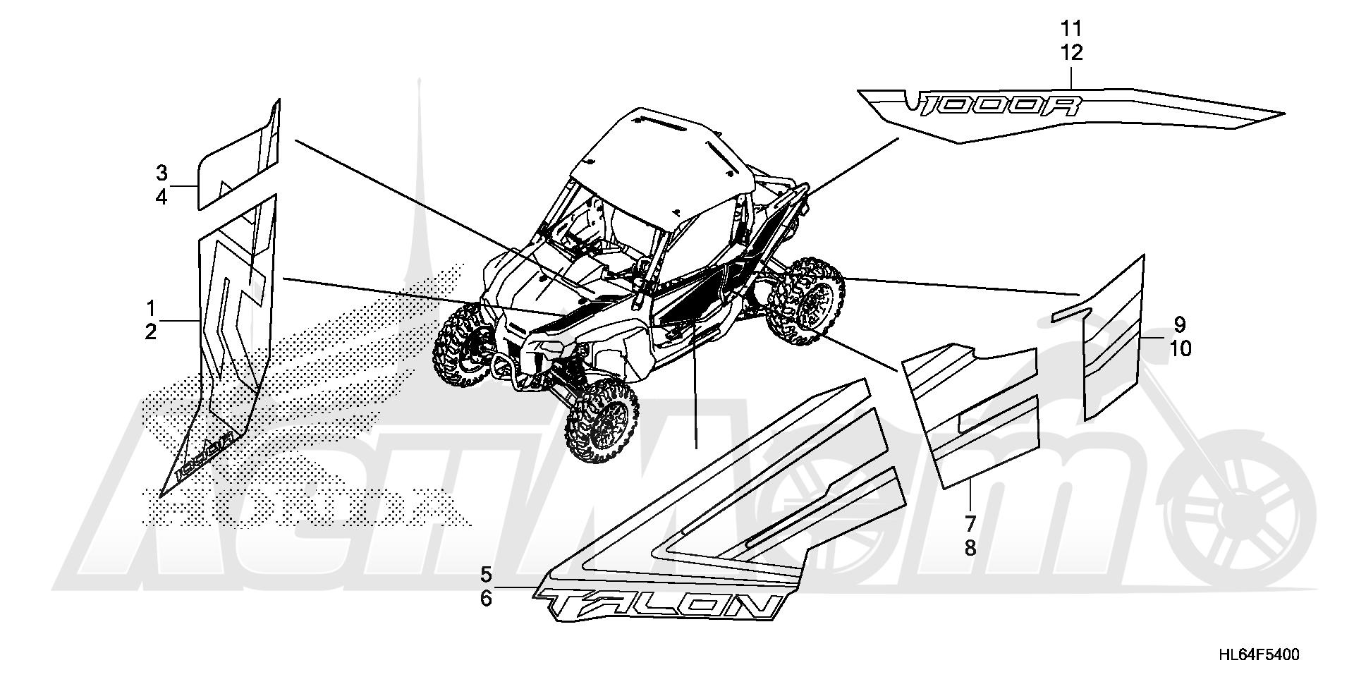 Запчасти для Квадроцикла Honda 2019 SXS1000S2R Раздел: MARK (1) | знак (1)