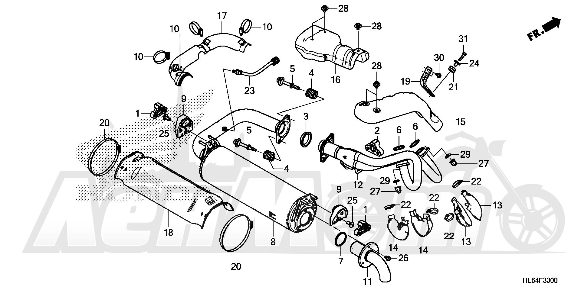 Запчасти для Квадроцикла Honda 2019 SXS1000S2R Раздел: MUFFLER | глушитель