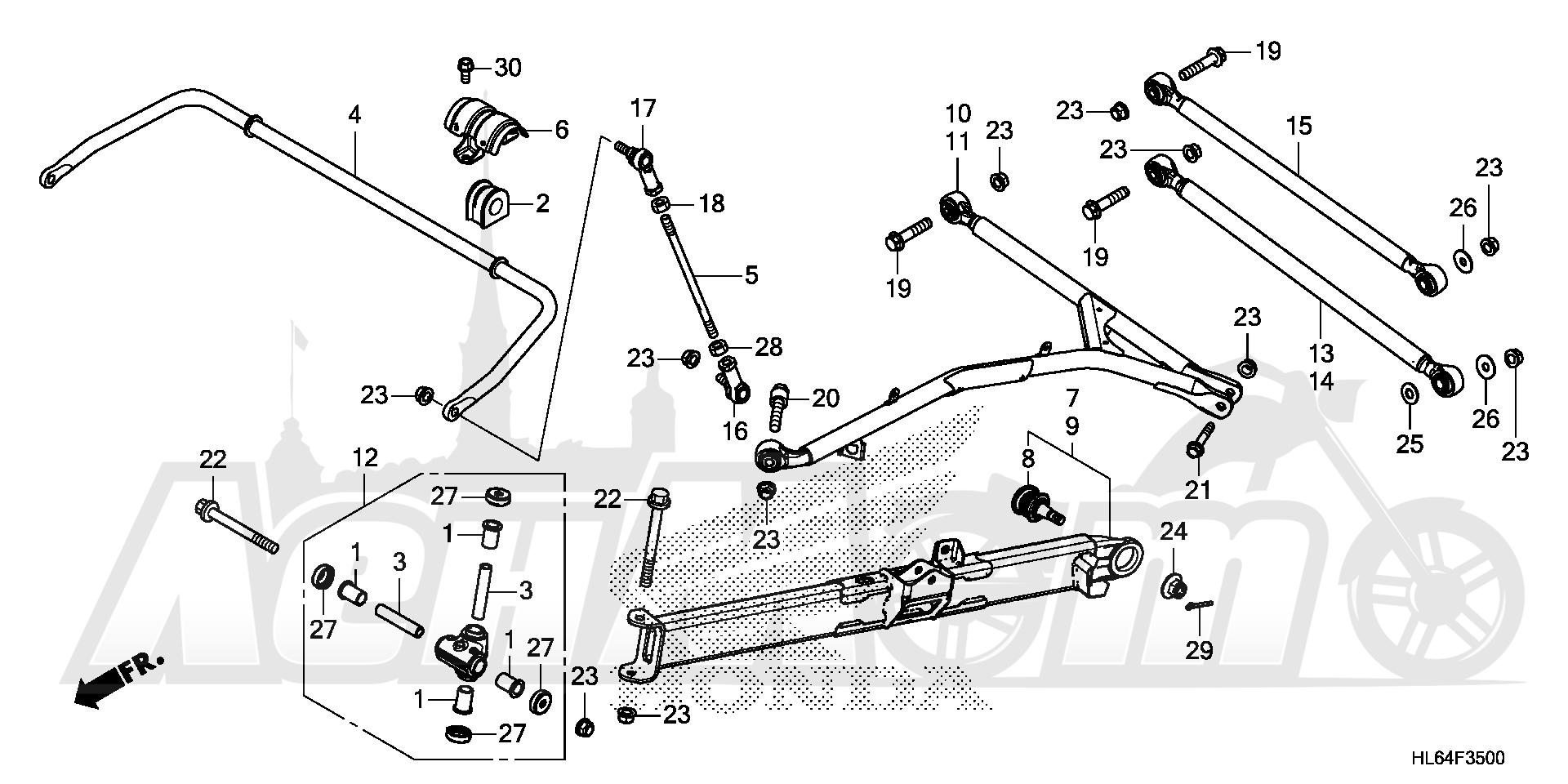 Запчасти для Квадроцикла Honda 2019 SXS1000S2R Раздел: REAR ARM AND REAR STABILIZER 2 | задний рычаг и зад стабилизатор 2