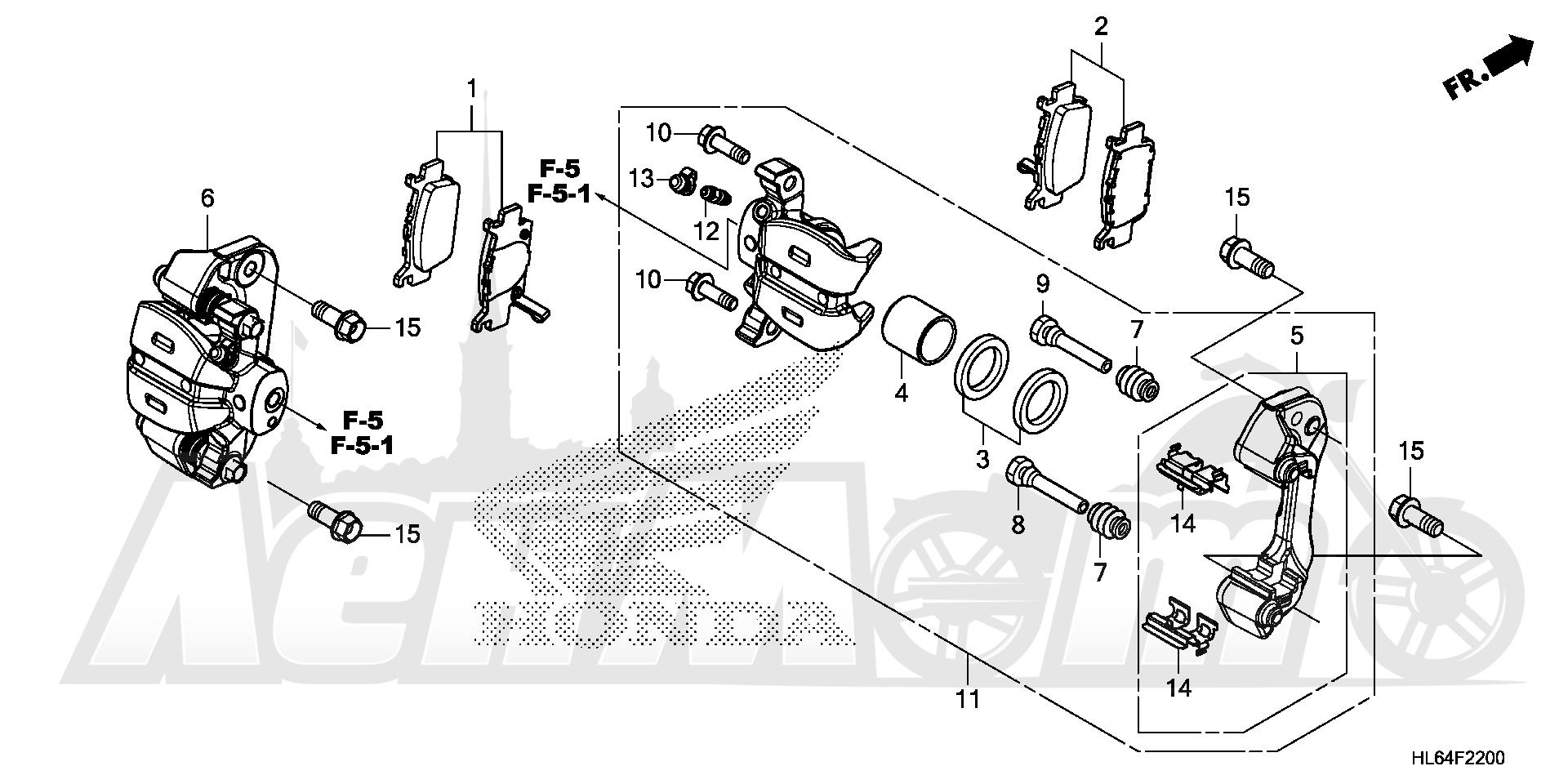 Запчасти для Квадроцикла Honda 2019 SXS1000S2R Раздел: REAR BRAKE CALIPER | задний тормоз суппорт