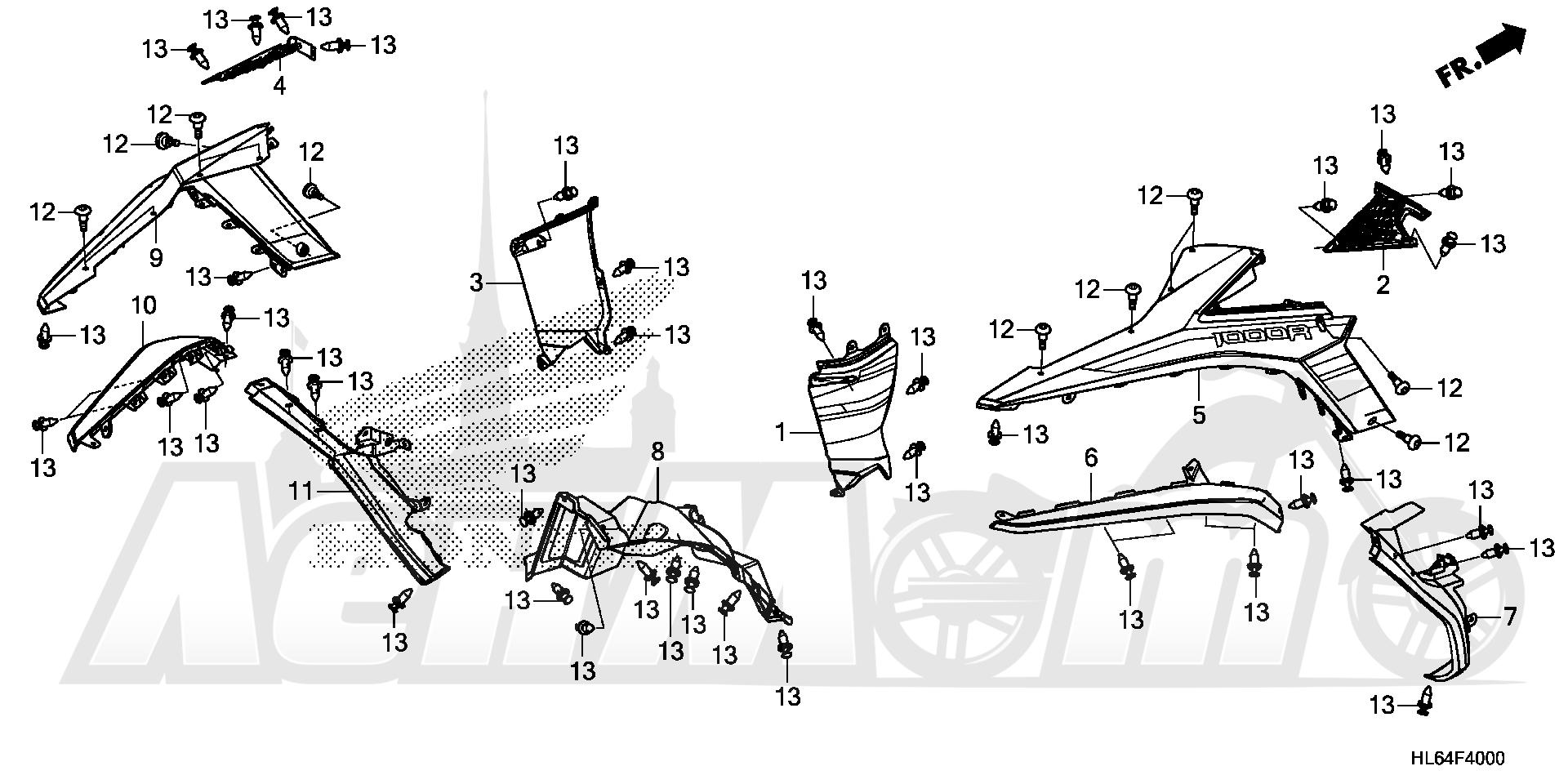 Запчасти для Квадроцикла Honda 2019 SXS1000S2R Раздел: REAR FENDER | заднее крыло
