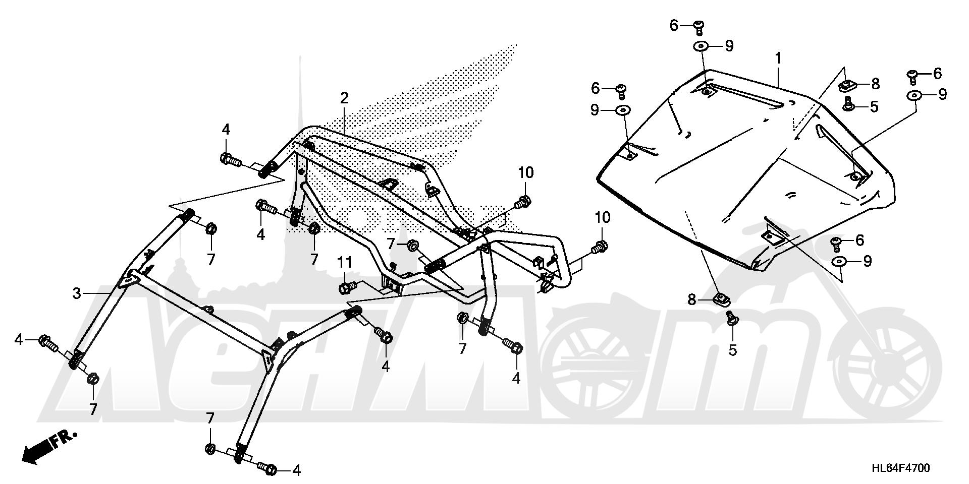Запчасти для Квадроцикла Honda 2019 SXS1000S2R Раздел: ROLL BAR AND ROOF   рулон планка и крыша
