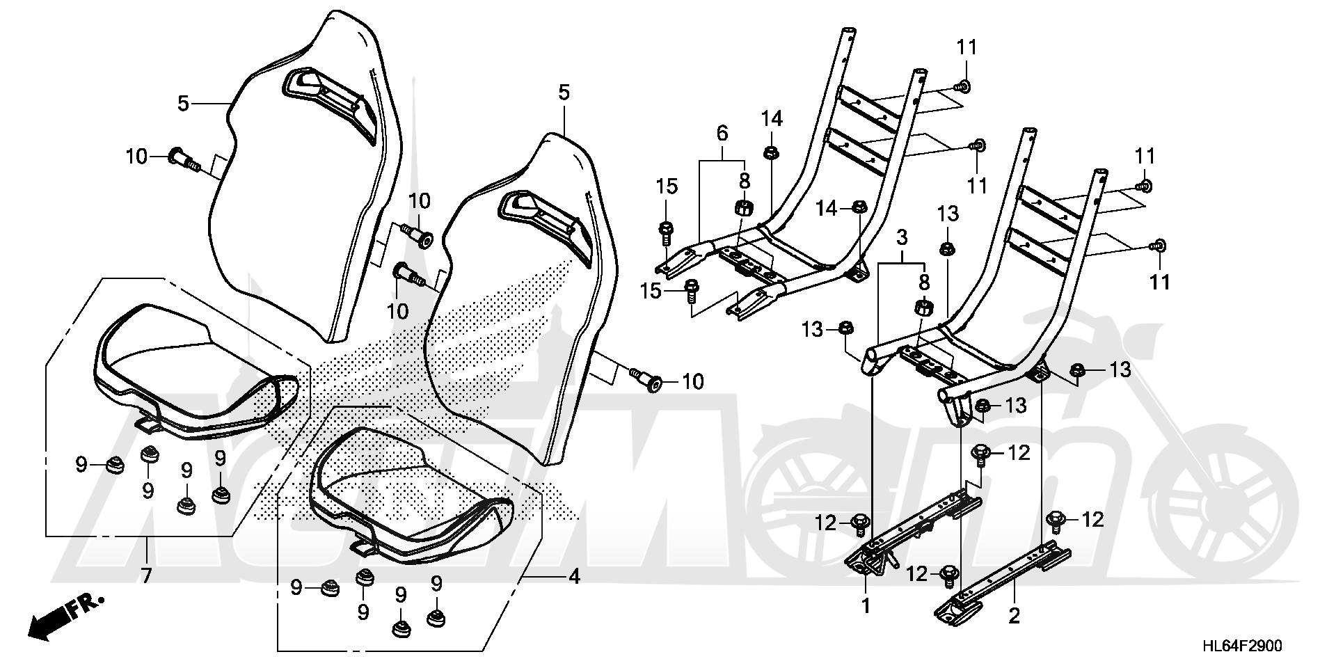 Запчасти для Квадроцикла Honda 2019 SXS1000S2R Раздел: SEAT | сиденье