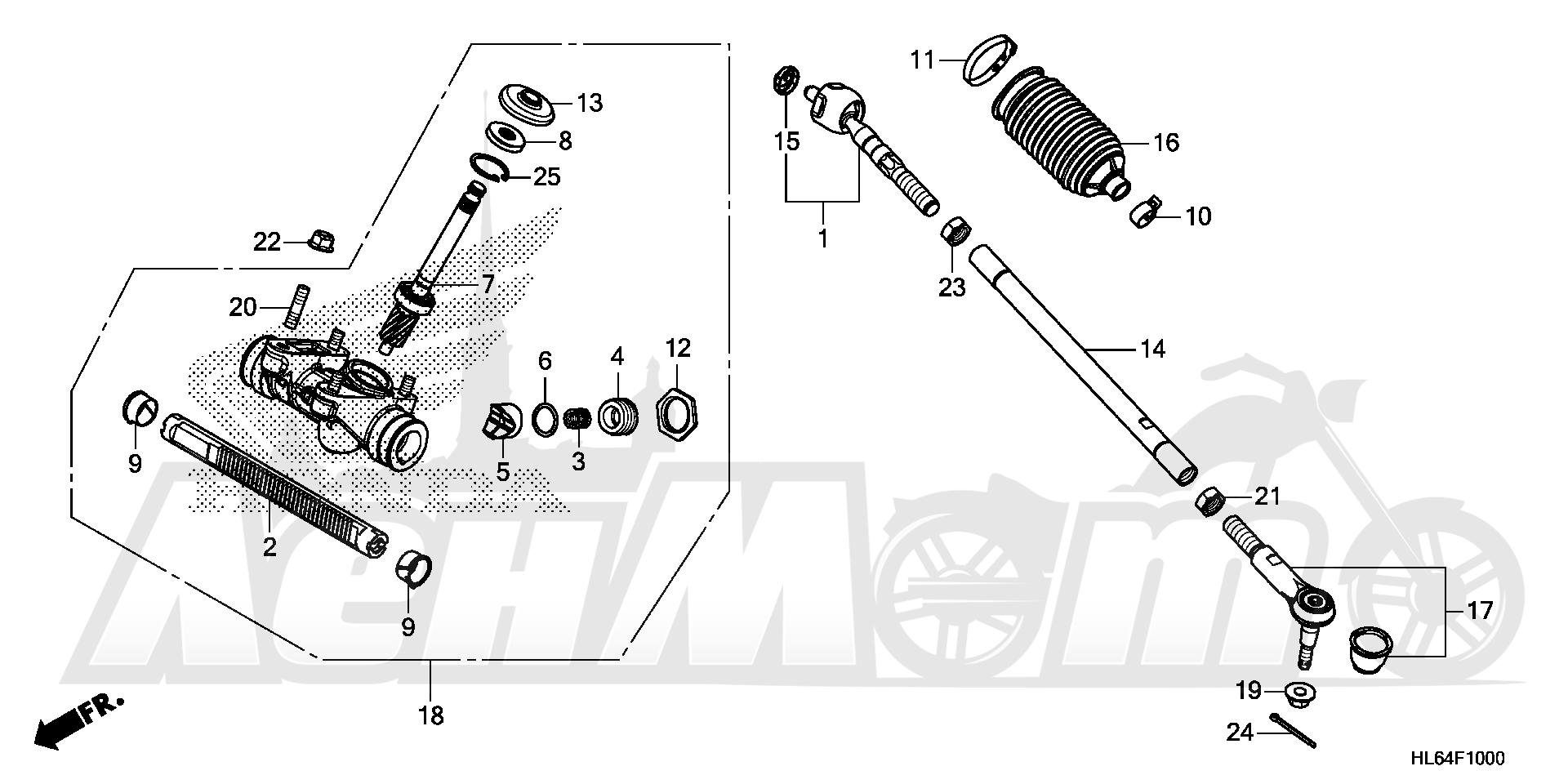 Запчасти для Квадроцикла Honda 2019 SXS1000S2R Раздел: STEERING GEAR BOX AND TIE ROD | рулевое управление коробка передач и рулевая тяга