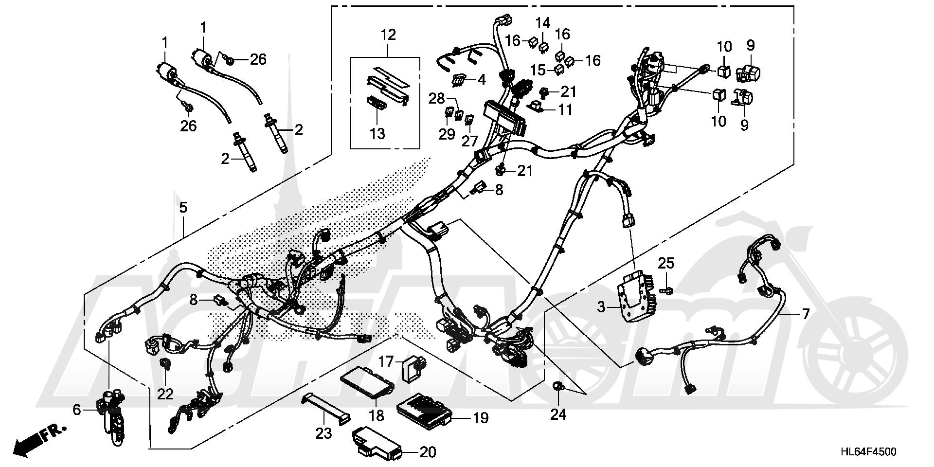 Запчасти для Квадроцикла Honda 2019 SXS1000S2R Раздел: WIRE HARNESS | жгут проводов