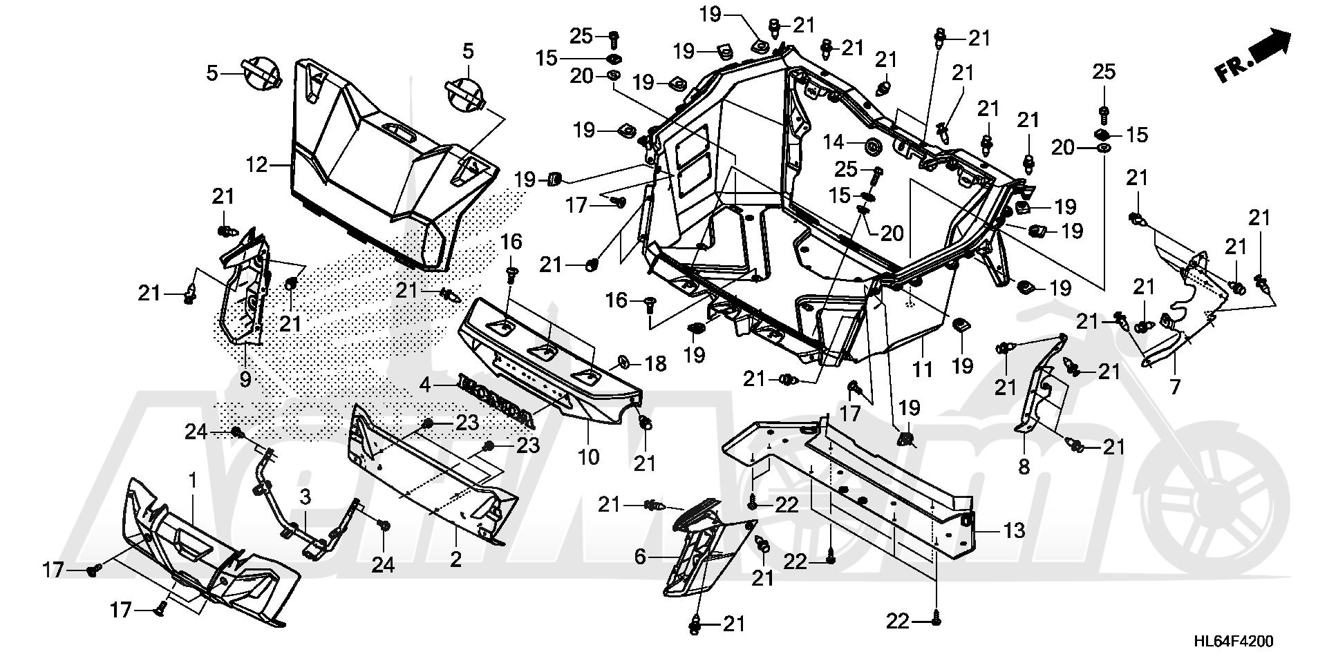 Запчасти для Квадроцикла Honda 2019 SXS1000S2X Раздел: BED PLATE   BED пластина