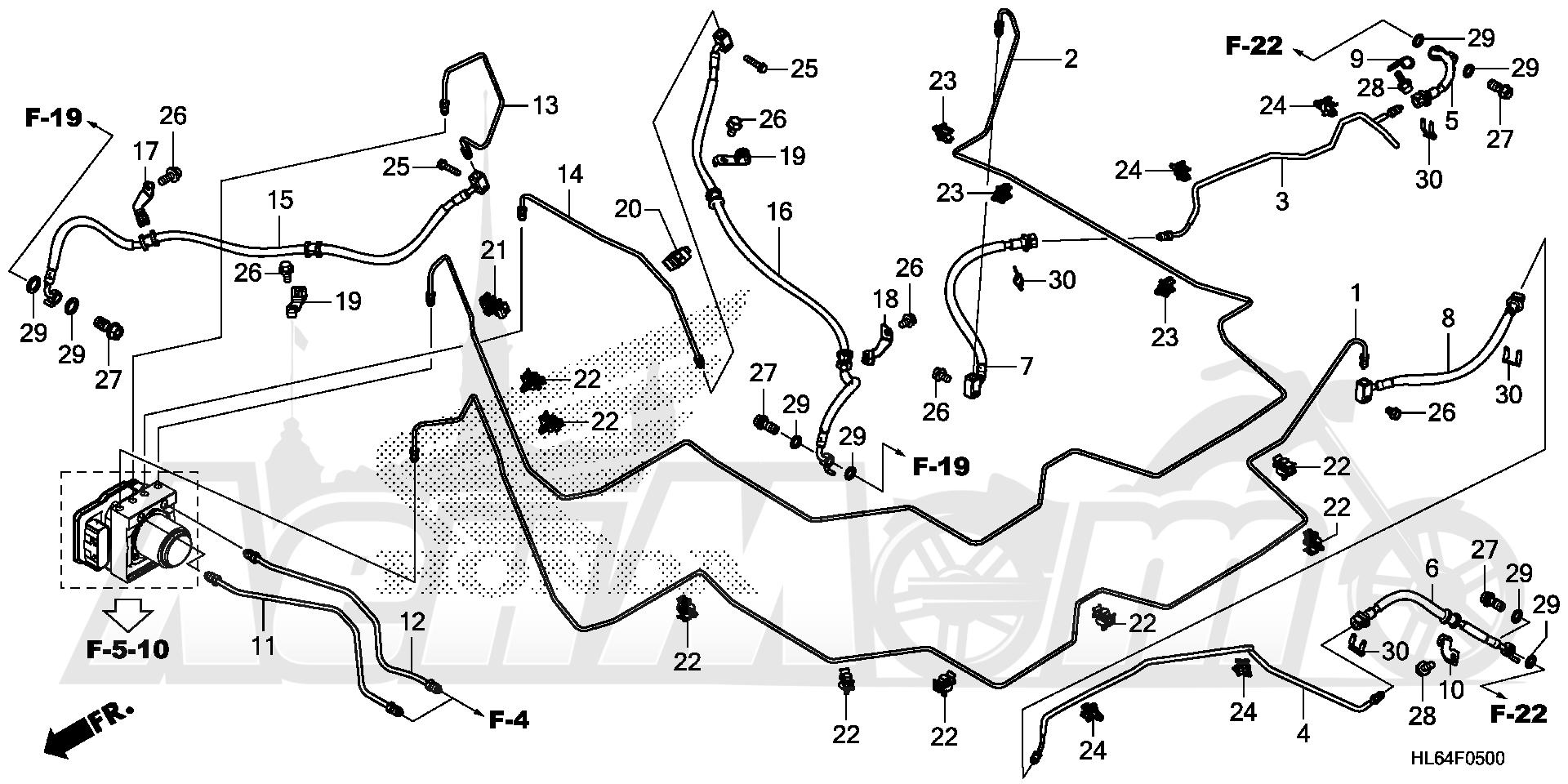 Запчасти для Квадроцикла Honda 2019 SXS1000S2X Раздел: BRAKE PIPE AND BRAKE HOSE (1) | тормоза труба и тормоза шланг (1)
