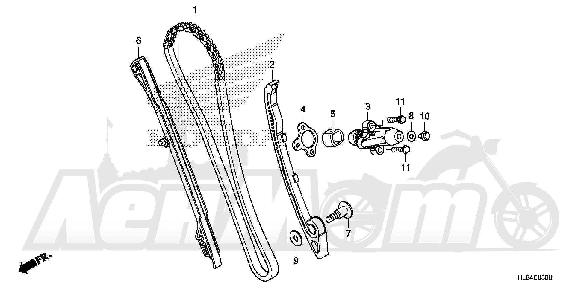 Запчасти для Квадроцикла Honda 2019 SXS1000S2X Раздел: CAM CHAIN AND TENSIONER | цепь грм и натяжитель