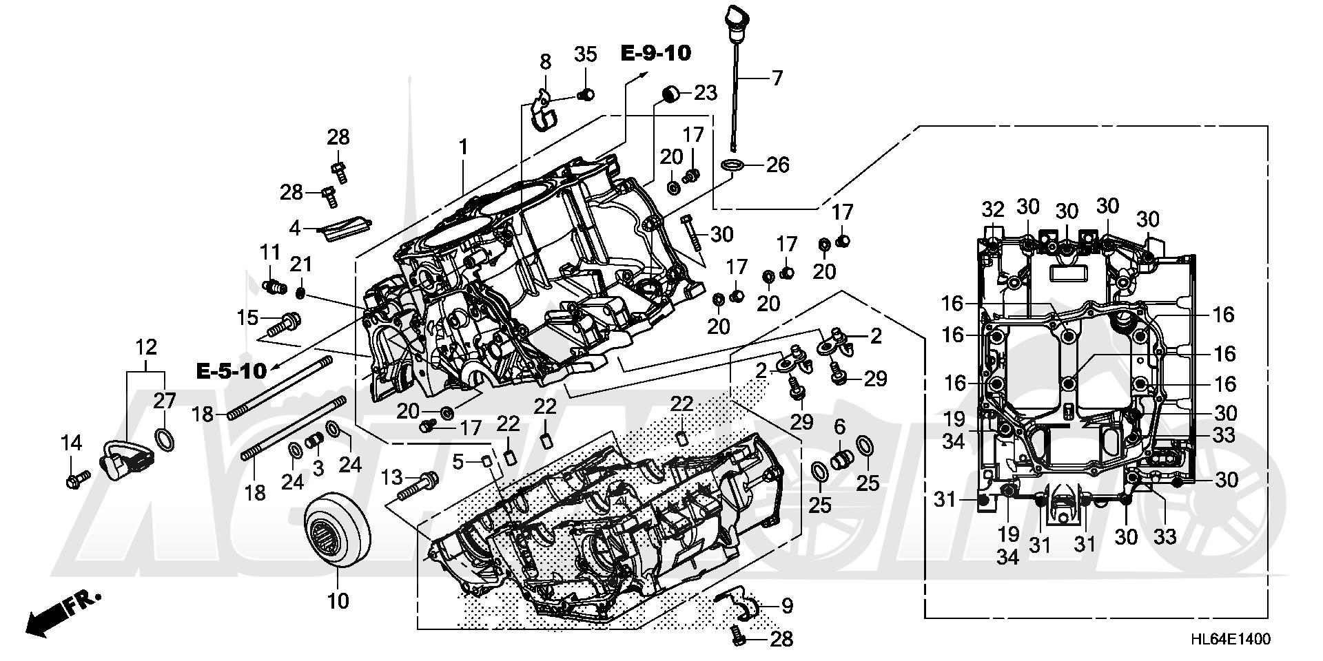 Запчасти для Квадроцикла Honda 2019 SXS1000S2X Раздел: CRANKCASE | картер