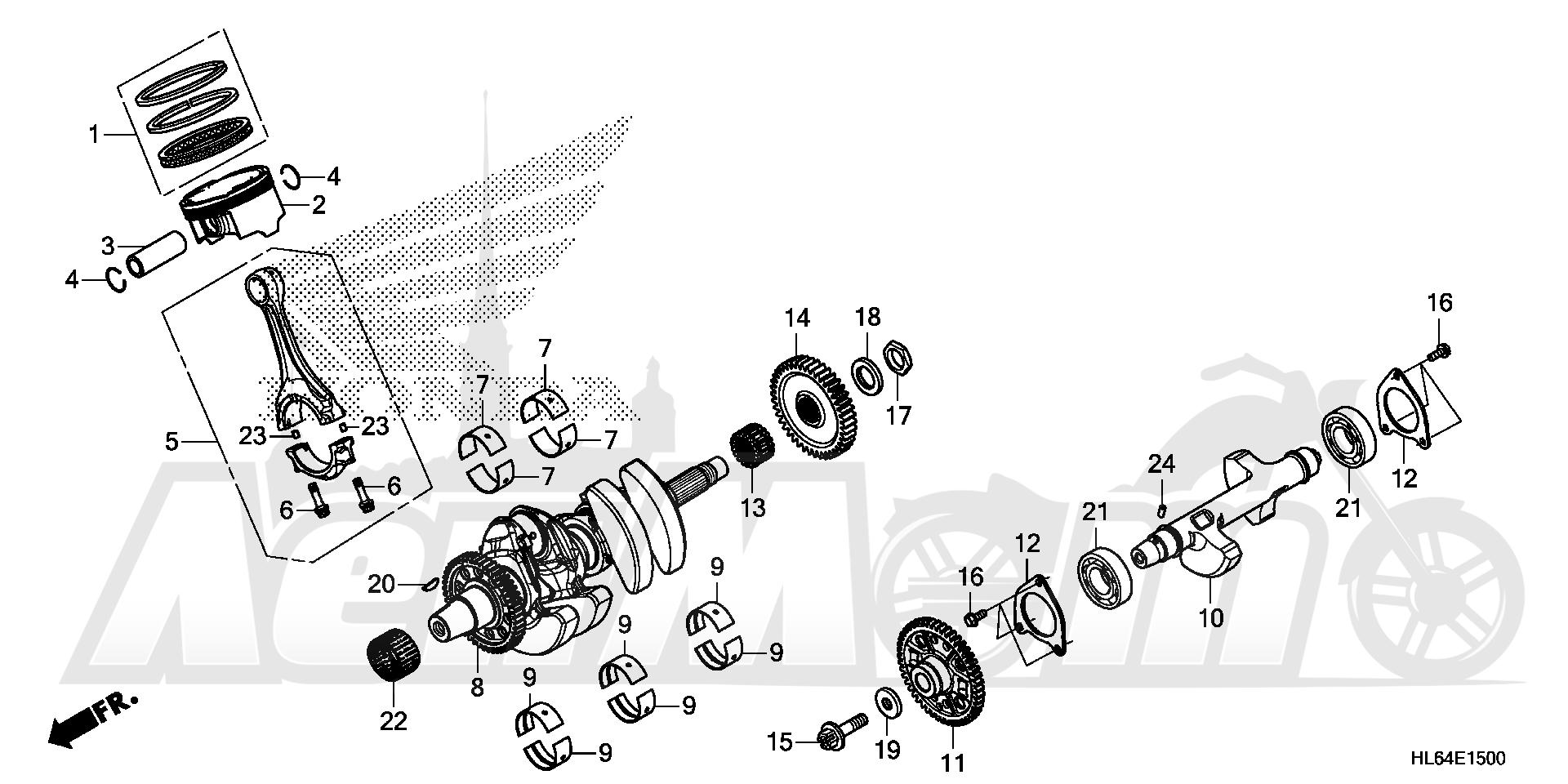 Запчасти для Квадроцикла Honda 2019 SXS1000S2X Раздел: CRANKSHAFT AND PISTON   коленвал и поршень