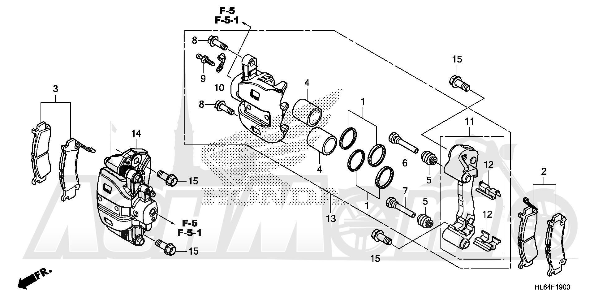 Запчасти для Квадроцикла Honda 2019 SXS1000S2X Раздел: FRONT BRAKE CALIPER | передний тормоз суппорт