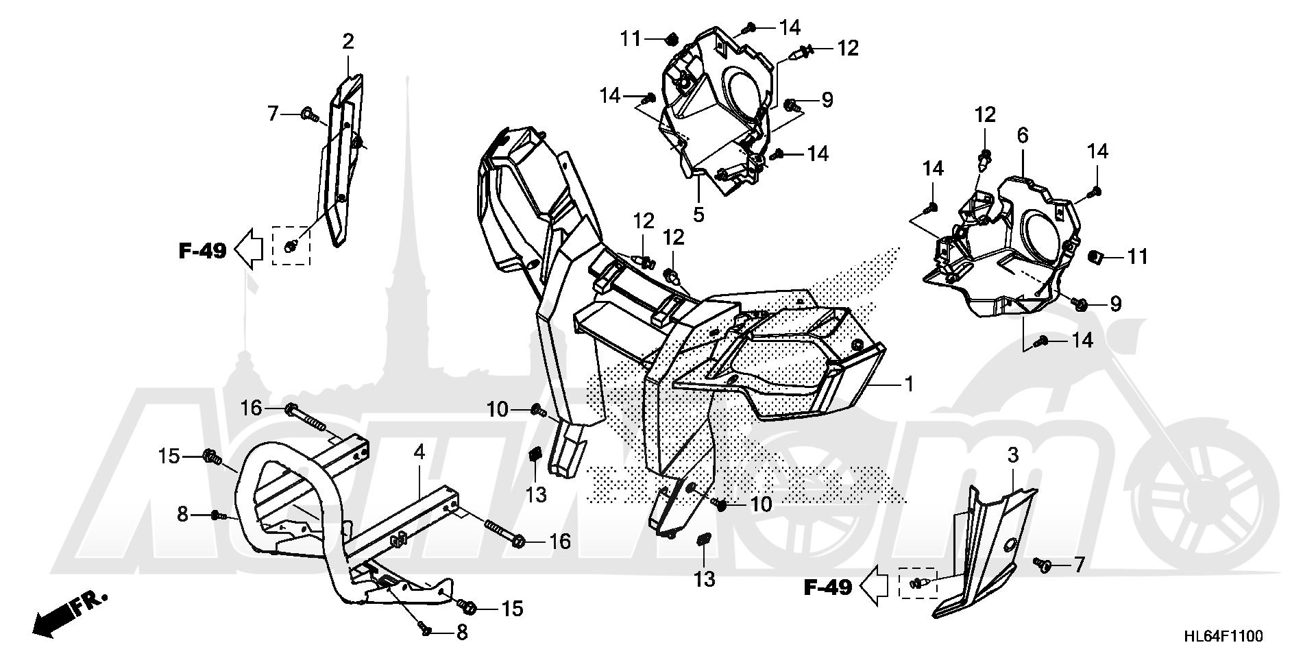 Запчасти для Квадроцикла Honda 2019 SXS1000S2X Раздел: FRONT GRILLE AND FRONT BUMPER   перед GRILLE и перед бампер