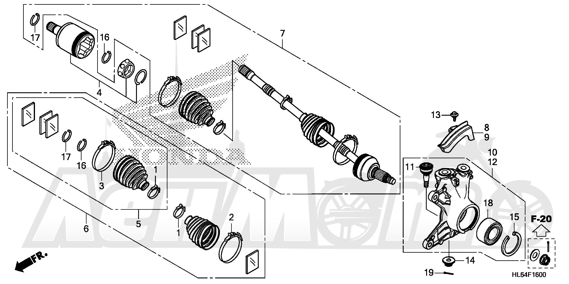 Запчасти для Квадроцикла Honda 2019 SXS1000S2X Раздел: FRONT KNUCKLE AND DRIVESHAFT | перед кулак и DRIVESHAFT