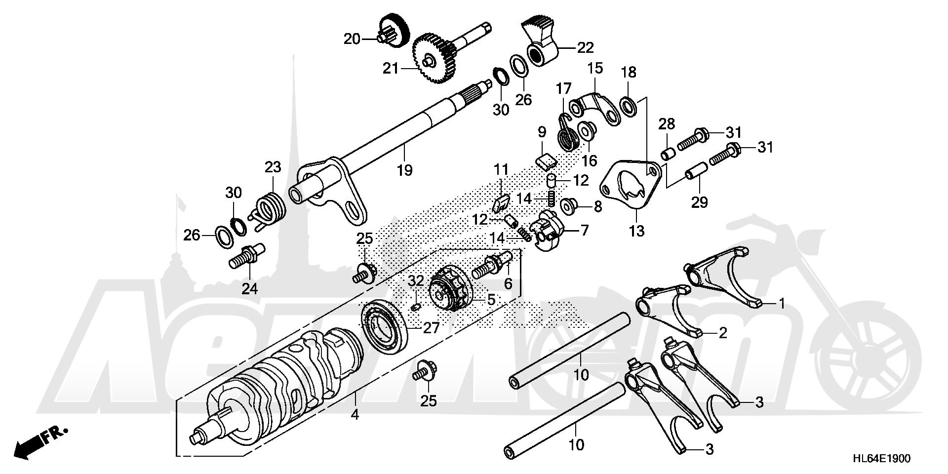 Запчасти для Квадроцикла Honda 2019 SXS1000S2X Раздел: GEARSHIFT FORK | переключение передач вилка