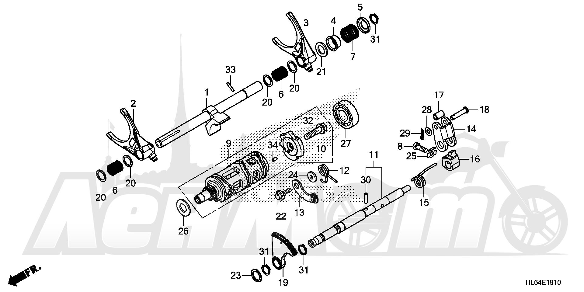 Запчасти для Квадроцикла Honda 2019 SXS1000S2X Раздел: GEARSHIFT FORK (SUB   переключение передач вилка (SUB