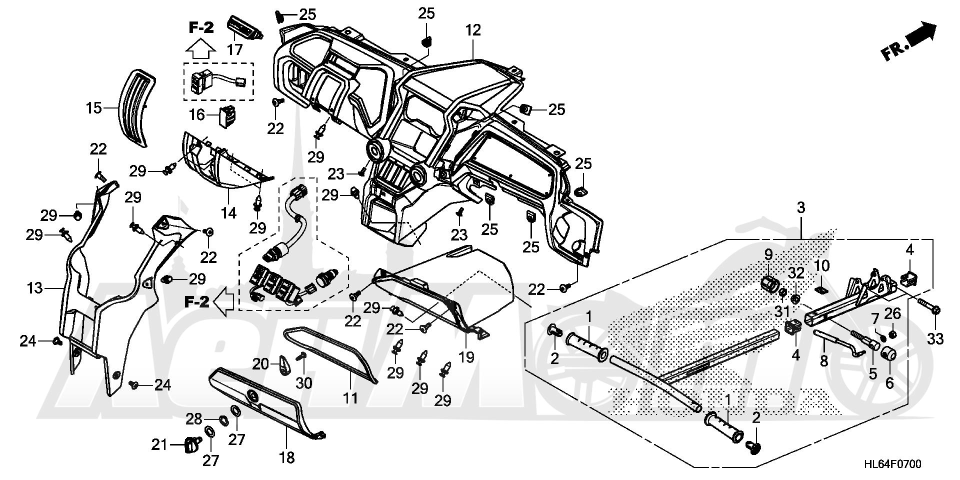 Запчасти для Квадроцикла Honda 2019 SXS1000S2X Раздел: INSTRUMENT PANEL | приборная панель