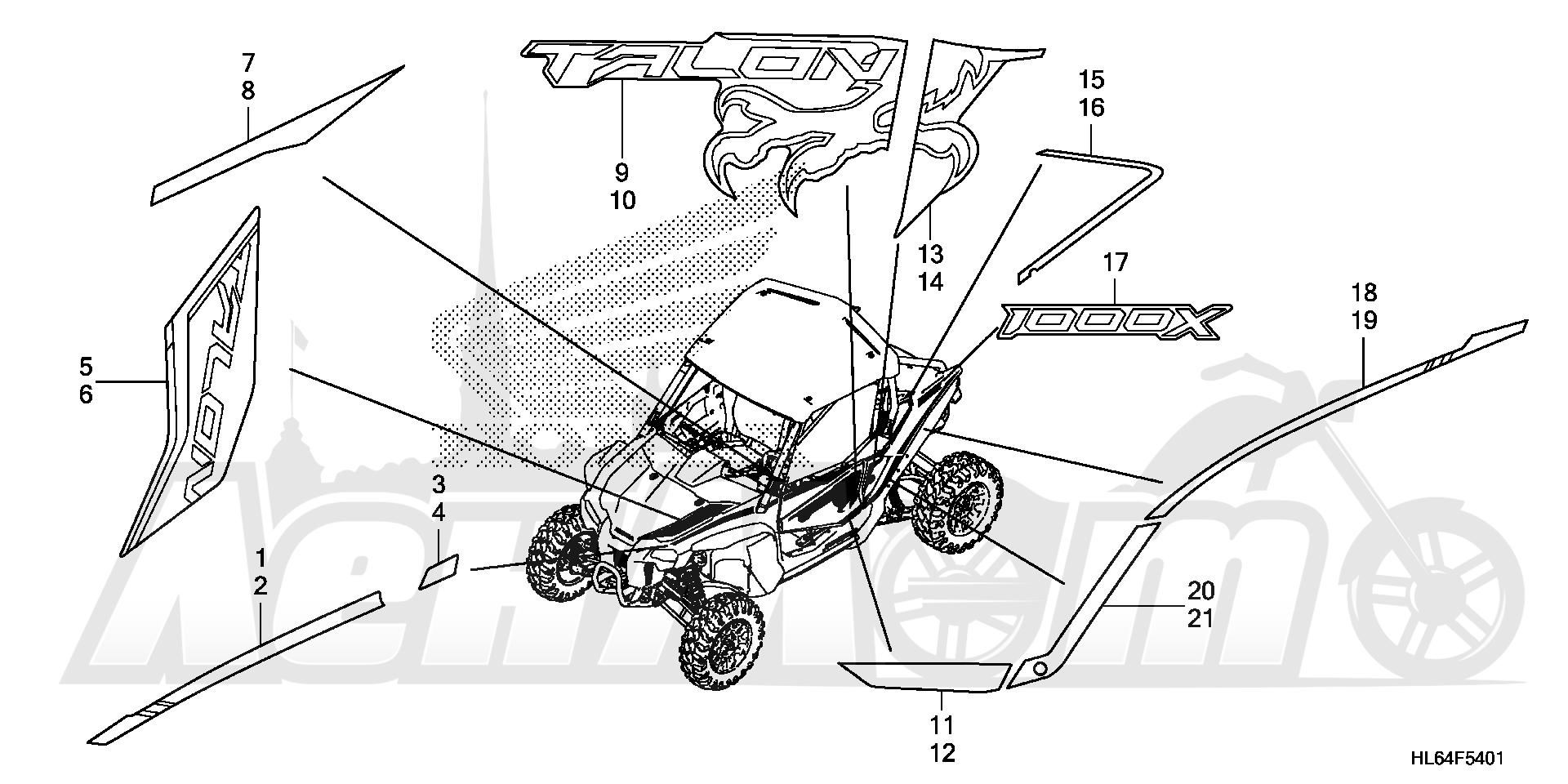 Запчасти для Квадроцикла Honda 2019 SXS1000S2X Раздел: MARK (2)   знак (2)