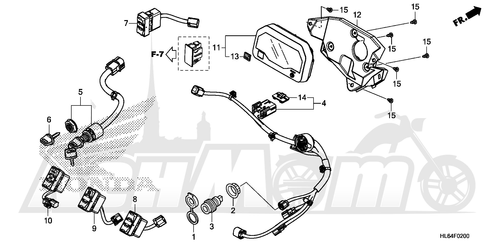 Запчасти для Квадроцикла Honda 2019 SXS1000S2X Раздел: METER AND SWITCH   счетчик и переключатель