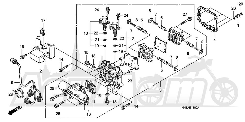 Запчасти для Квадроцикла Honda 2008 TRX680FA Раздел: MAIN VALVE BODY   главный клапан корпус