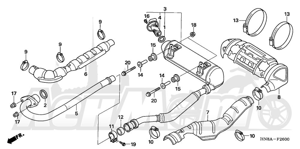 Запчасти для Квадроцикла Honda 2008 TRX680FA Раздел: MUFFLER | глушитель