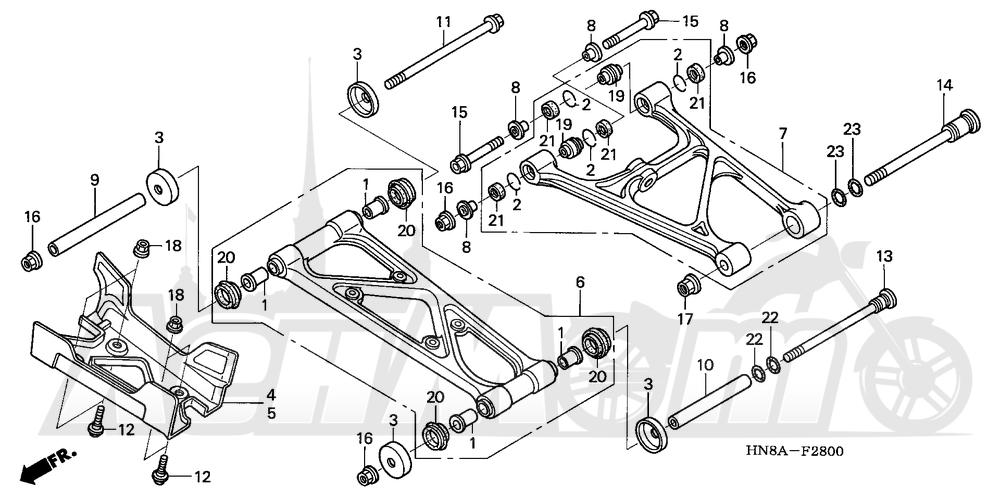 Запчасти для Квадроцикла Honda 2008 TRX680FA Раздел: REAR ARM | задний рычаг
