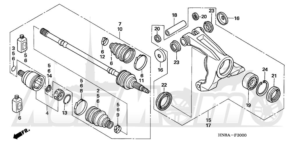 Запчасти для Квадроцикла Honda 2008 TRX680FA Раздел: REAR KNUCKLE | зад кулак