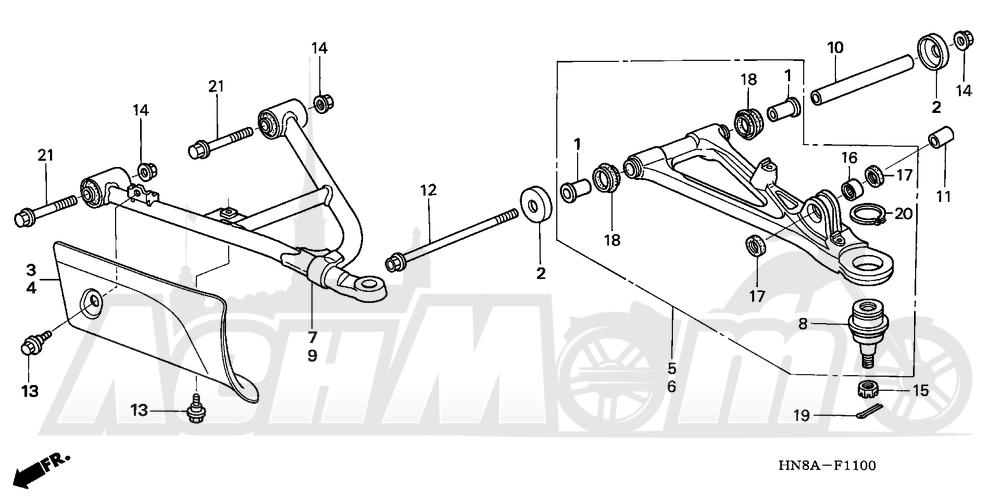 Запчасти для Квадроцикла Honda 2008 TRX680FA Раздел: FRONT ARM   передний рычаг