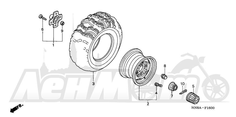 Запчасти для Квадроцикла Honda 2008 TRX680FA Раздел: REAR WHEEL | заднее колесо