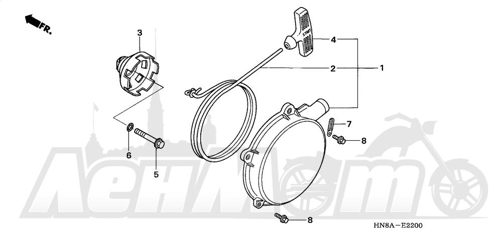 Запчасти для Квадроцикла Honda 2008 TRX680FA Раздел: RECOIL STARTER | ручной стартер