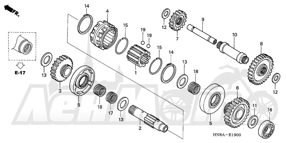 Запчасти для Квадроцикла Honda 2008 TRX680FA Раздел: REVERSE GEAR | шестерня передачи заднего хода