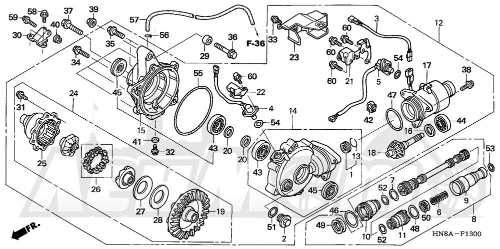 Запчасти для Квадроцикла Honda 2008 TRX680FA Раздел: FRONT FINAL GEAR | перед FINAL шестерня